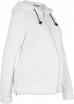 Куртка плюшевая для беременных bonprix. Цвет: белый
