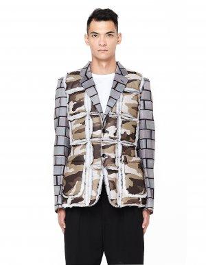Утепленный пиджак с нашивками Comme des Garcons Homme plus