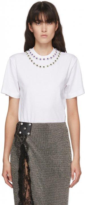 White Flower Crystal T-Shirt Christopher Kane. Цвет: white