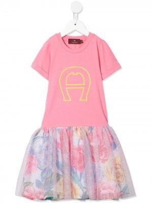 Пышное платье с логотипом Aigner Kids. Цвет: розовый