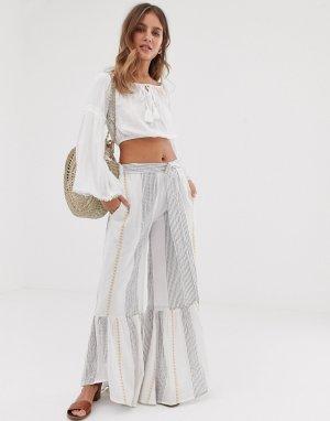 Расклешенные брюки с поясом и отделкой металлик RD & KOKO-Мульти Koko