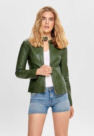 Куртка кожаная Jacqueline de Yong. Цвет: зеленый