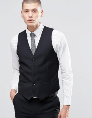 Черный приталенный жилет Farah. Цвет: черный