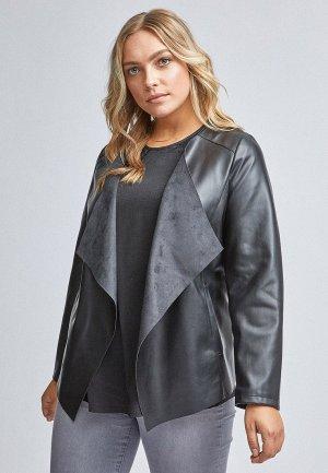 Куртка кожаная Dorothy Perkins Curve. Цвет: серебряный