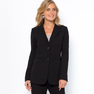 Пиджак-блейзер приталенного покроя из струящейся саржи ANNE WEYBURN. Цвет: темно-синий,черный