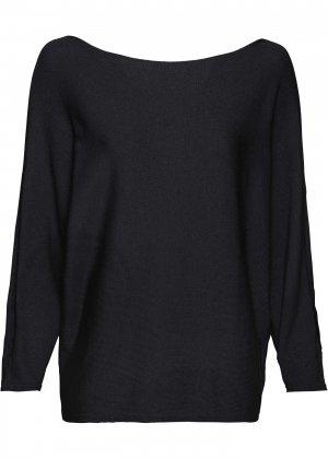 Пуловер с рукавами летучая мышь bonprix. Цвет: черный