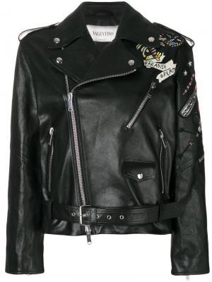 Байкерская куртка с вышитыми татуировками Valentino. Цвет: чёрный