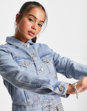 Голубая джинсовая куртка Tilda-Голубой Topshop