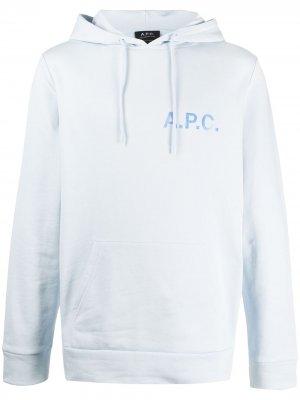 Худи с кулиской и логотипом A.P.C.. Цвет: синий