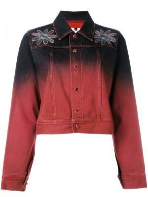 Джинсовая куртка с градиентным переходом Romeo Gigli Vintage. Цвет: красный