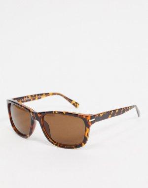 Квадратные солнцезащитные очки в черепаховой оправе -Коричневый цвет AJ Morgan