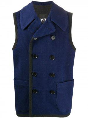 Двубортный жилет Yohji Yamamoto Pre-Owned. Цвет: синий