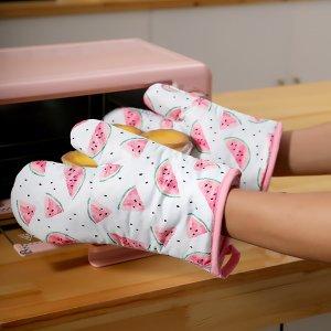 Перчатки для микроволновой печи с арбузным принтом 1шт SHEIN. Цвет: многоцветный
