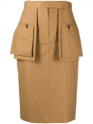 Юбка с накладными карманами Max Mara. Цвет: коричневый