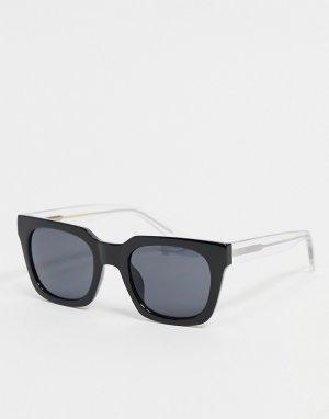 Квадратные солнцезащитные очки унисекс в стиле 70-х черной оправе с прозрачными дужками Nancy-Черный цвет A.Kjaerbede