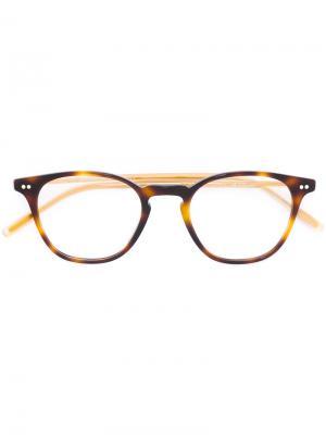 Очки Hanks в округлой оправе Oliver Peoples. Цвет: коричневый