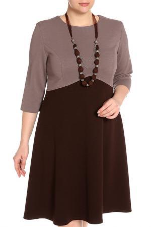 Платье Glamour. Цвет: бежевый, коричневый