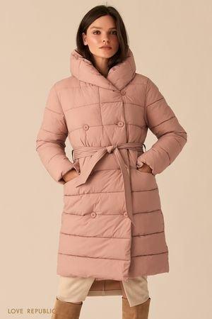 Стеганое двубортное пальто цвета пудры с капюшоном LOVE REPUBLIC