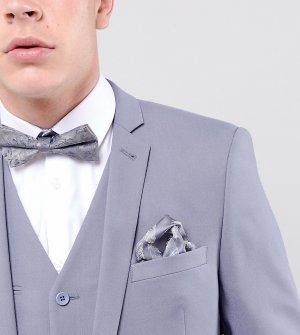 Жаккардовый платок для пиджака с перьевым принтом Noose & Monkey. Цвет: серый