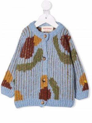 Floral-print knitted cardigan Bobo Choses. Цвет: синий