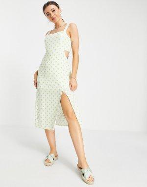 Платье миди в горошек с вырезом -Белый Gilli