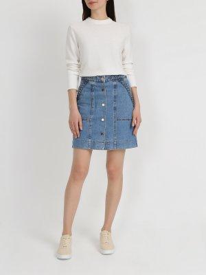 Джинсовая юбка TWINSET MILANO. Цвет: siniy