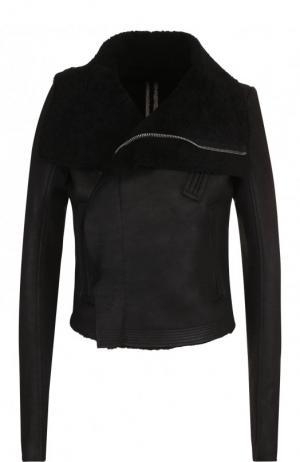 Кожаная куртка на меховой подкладке Rick Owens. Цвет: черный