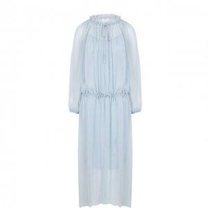 Приталенное платье-миди с длинным рукавом Escada Sport. Цвет: синий