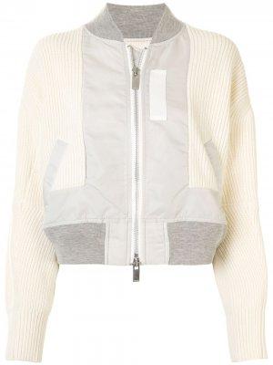 Куртка-бомбер в рубчик Sacai. Цвет: белый