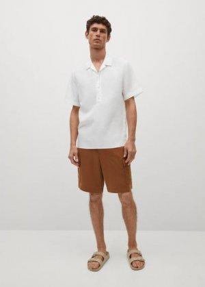 Льняная рубашка regular-fit с короткими рукавами - Lava Mango. Цвет: белый