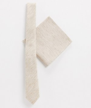 Набор из галстука и платка для нагрудного кармана светло-бежевого цвета -Светло-бежевый ASOS DESIGN