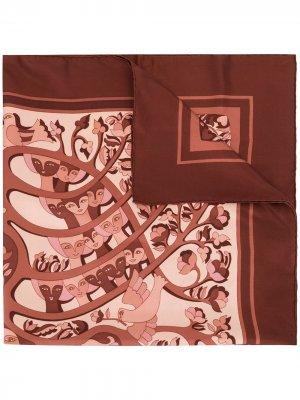 Pre-owned LArbre de Vie scarf Hermès. Цвет: красный