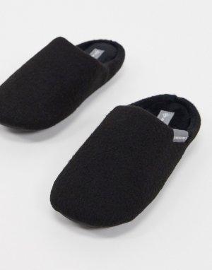 Черные мягкие слиперы на подкладке из искусственного меха -Черный цвет Dunlop