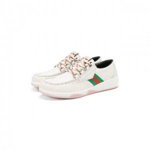Кожаные кроссовки Gucci. Цвет: белый