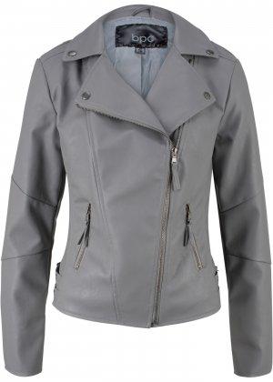 Куртка-косуха из искусственной кожи bonprix. Цвет: серый