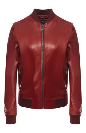Однотонная кожаная куртка Dolce & Gabbana. Цвет: красный