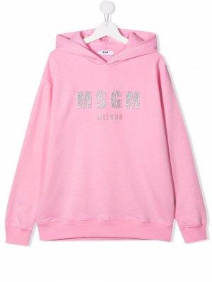 TEEN glitter logo-embroidered cotton hoodie MSGM Kids. Цвет: розовый