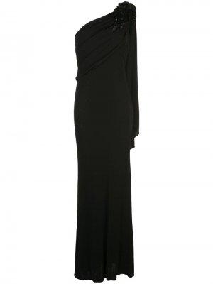 Длинное платье на одно плечо Badgley Mischka. Цвет: черный