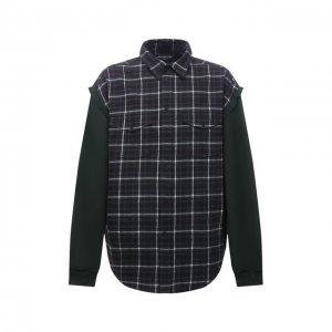 Хлопковая рубашка Balenciaga. Цвет: зелёный