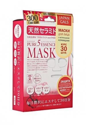 Набор масок для лица Japan Gals с натуральными керамидами Pure5 Essential 30 шт. Цвет: белый