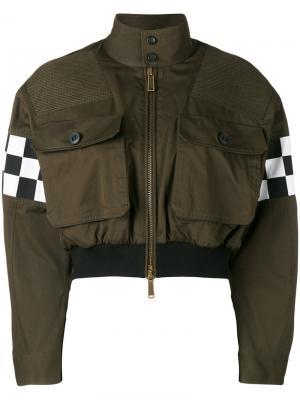 Укороченная куртка бомбер с деталями в клетку Dsquared2. Цвет: зелёный