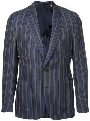 Stripe fitted blazer Gieves & Hawkes. Цвет: синий