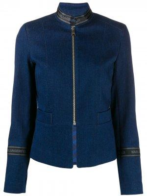 Джинсовая куртка на молнии с логотипом Karl Lagerfeld. Цвет: синий