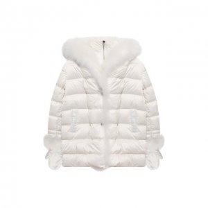 Пуховая куртка с варежками Yves Salomon Enfant. Цвет: белый