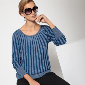 Пуловер с круглым вырезом из тонкого трикотажа ANNE WEYBURN. Цвет: синий индиго,экрю