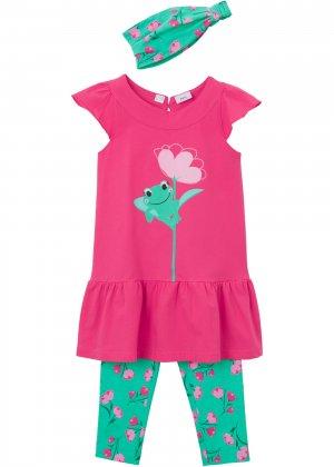 Платье, легинсы и повязка (3 изд.) bonprix. Цвет: ярко-розовый