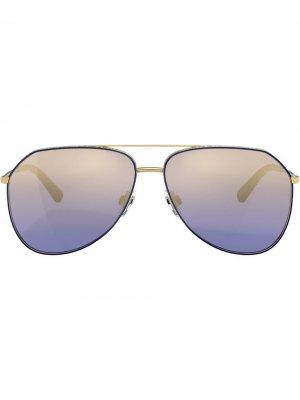 Солнцезащитные очки-авиаторы с логотипом Dolce & Gabbana Eyewear. Цвет: золотистый