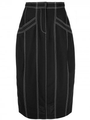Юбка с контрастными швами Derek Lam. Цвет: черный