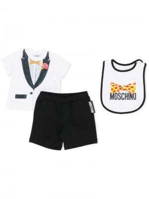 Футболка, шорты и нагрудник с принтом Moschino Kids. Цвет: черный