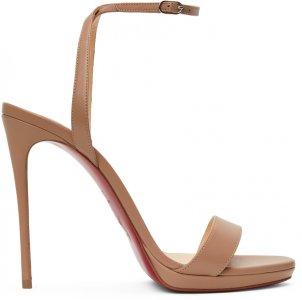 Beige Loubi Queen 120 Heeled Sandals Christian Louboutin. Цвет: pk1a nude